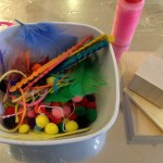 Crafting supplies and colored glue