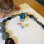 Painting with water on beach stones