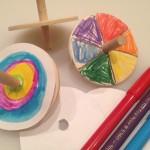 Spinning art on wooden tops