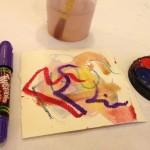 Watercolor and greasy crayons
