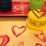 Heart and circle stampers with paint