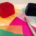 Bleeding tissue paper and colored ice on watercolor paper