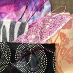 Gluing fabric collage