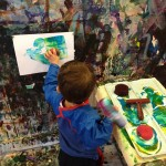 Paint rollers at the easel wall