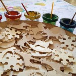 Holiday wooden shapes to decorate