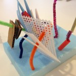 Sculpture with wire, beads, and more