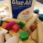 Wooden shapes and glue construction