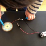 Spin art with electricity