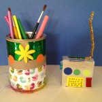 Earth Day up-cycling: walkie-talkies and desk organizers