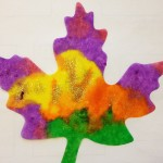 Color mixing on paper leaves