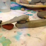 Temporary sculptures with rocks and water
