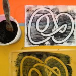 Mono printing with finger paints