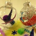 Filling plastic ornaments