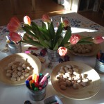 Decorating wooden Easter eggs