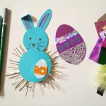 Decorating paper bunnies and eggs