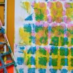 Dabbing paint through stencils