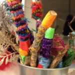 Yarn-wrapped stick decorations