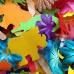 Flower garlands and animal puppets