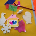 Wooden ornaments with bleeding tissue paper