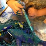 Painting with pasta and dinos!