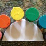 Liquid watercolor painting on semi-circles
