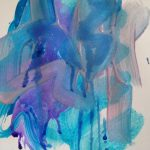 Tempera paint and liquid watercolors