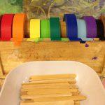 Craft sticks and masking tape building