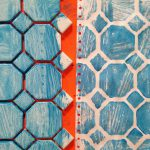 Printing with ceramic tiles and wooden screens