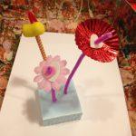 Valentine's sculptures and flower arrangements